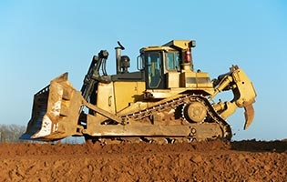 Bulldozer in digging area